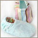 Reversible blue and stripes baby booties
