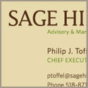 Sage Hill Advisory & Management     business card